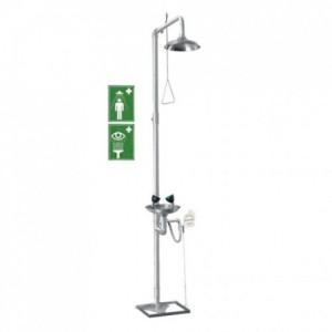 Аварийный душ с раковиной для промывки глаз Nofer SC710X (нерж.)