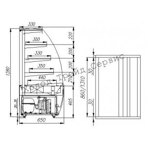 Витрина кондитерская Полюс K70 VM 0,9-1 (ВХСв-0,9д Carboma)