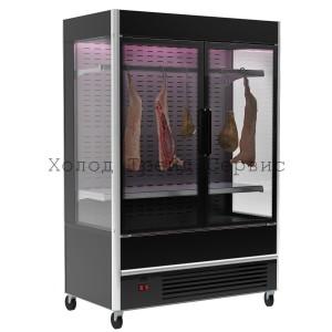 Витрина-горка для демонстрации мяса Carboma FC 20-07 VV 0,7-3 X7 9005 (распашные двери структурный стеклопакет)