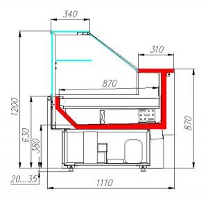 Витрина холодильная Carboma GC110 VM 2,0-2-1 (ВХСо-2,0 GC110) (динамика, выносной агрегат, без боковин)